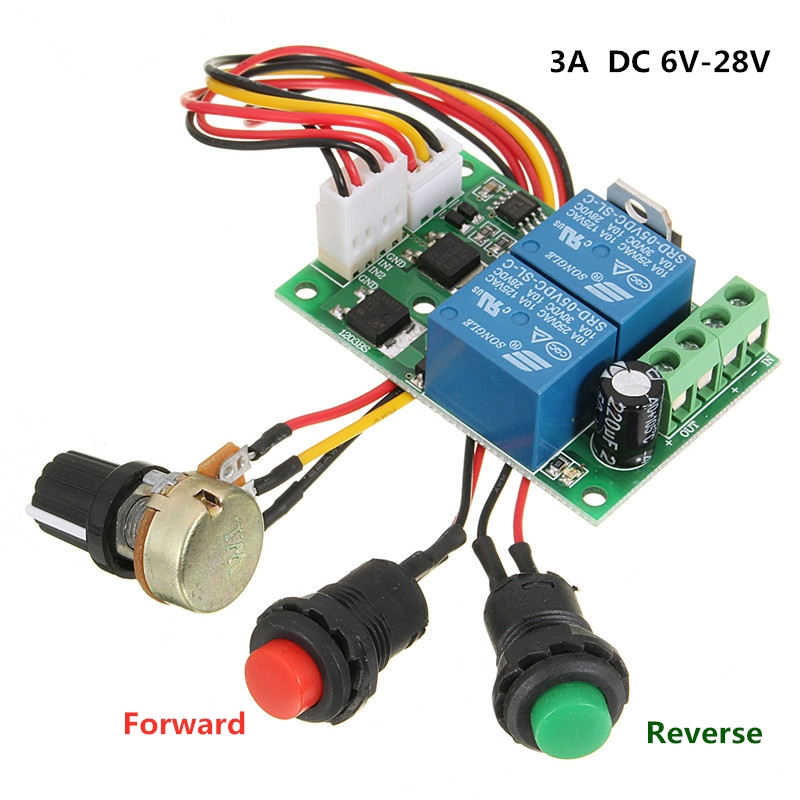 Motor Controller <font><b>DC</b></font> 6V-<font><b>30V</b></font> 3A PWM Speed Adjust Voltage <font><b>12</b></font> Volt V Mini Electric Motor Control Forward Reverse CW CCW DC12V 24V image