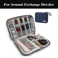Saatler'ten Saat Kutuları'de Saat kayışı kutusu taşınabilir kayış organizatör naylon aşınma direnci katı saklama çantası için Armani değişim Drexler