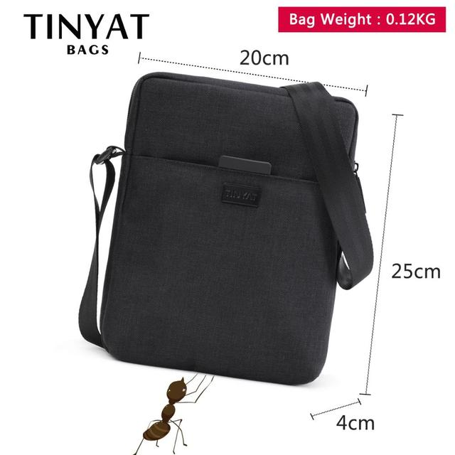 TINYAT Men's Bags Light Canvas Shoulder Bag For 7.9' Ipad Casual Crossbody Bags Waterproof Business Shoulder bag for men 0.13kg 5