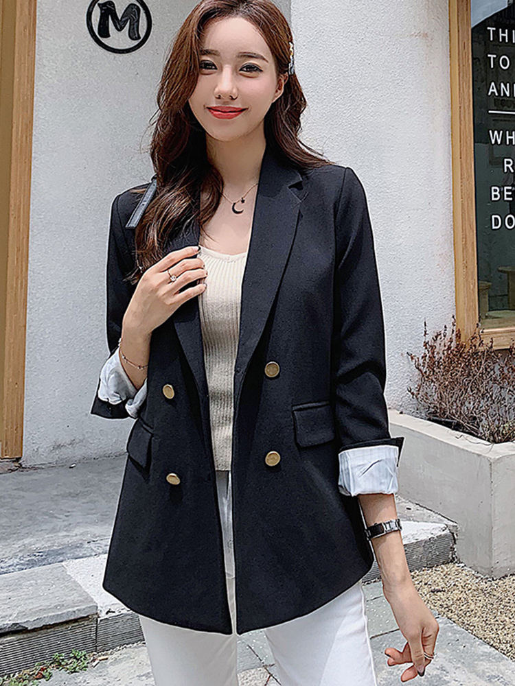 Women's Small Suit 2019 New Autumn Double-breasted Loose Office Interview Jacket Suit Female Wild Lady Black Blazer