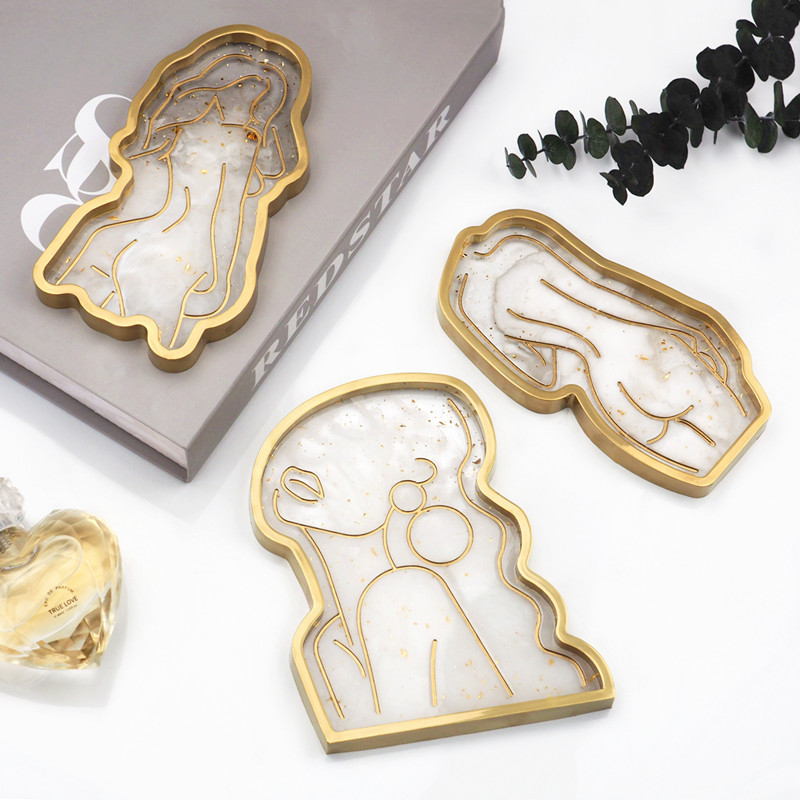 Tray DIY Epoxy Crystal Resin Silicone Mold Girl Model Body Abstract Plate Plate Mirror Tray Silicone Mold