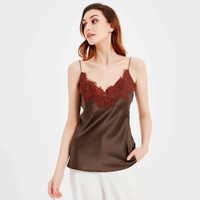 100% Silk Tank Top Women High Quality Fabric Shoulder Strap Adjustable Length Lace 4 Colors Casual Basic Clothing Fashion