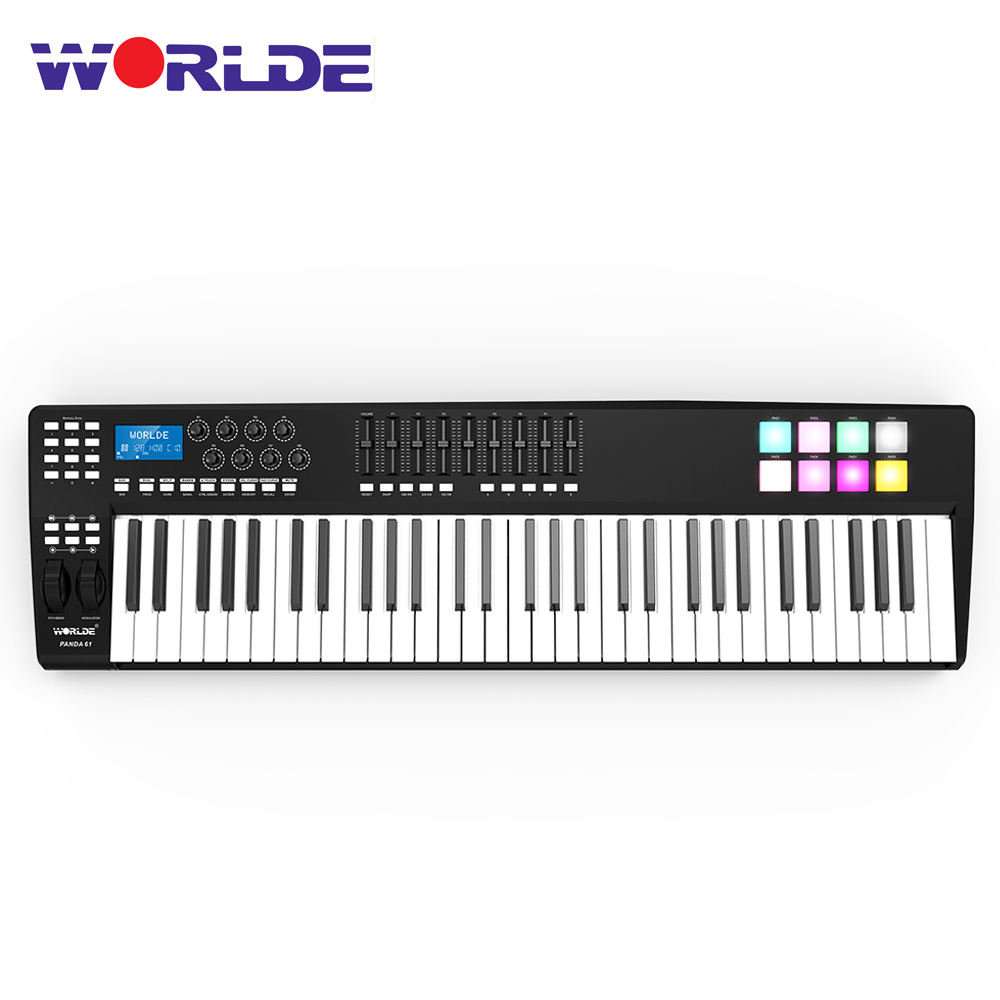 WORLDE PANDA61 Portable 61-Key USB MIDI Keyboard Controller 8 RGB Colorful Backlit Trigger Pads Piano Midi Controller