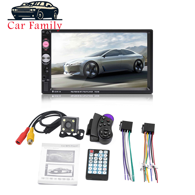 7 Inch Car Radio HD Touch Screen Bluetooth Stereo Audio Dual 2 Din Multimedia MP5 Player Rear Camera Remote Controller
