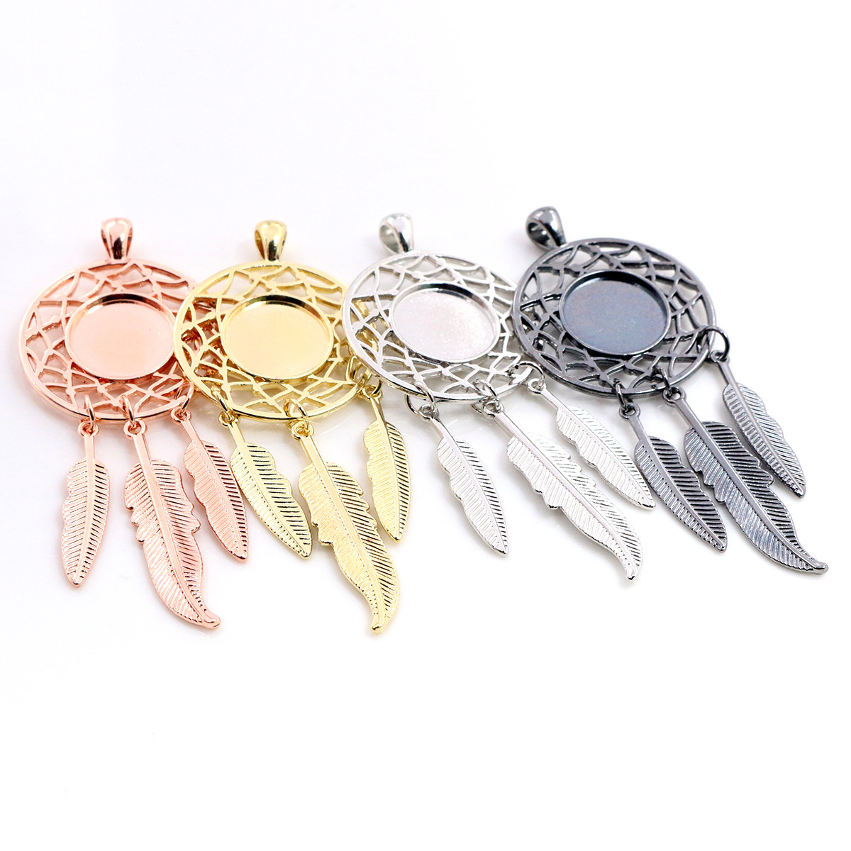 5pcs 14mm Inner Size High Quality Rhodium Gold ColorTree Leaf Feather Wings Fame Style Cabochon Base Cameo Charms Pendant