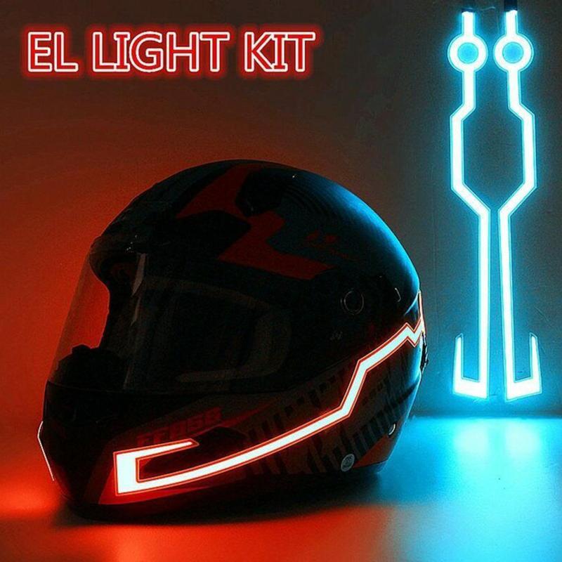Motorcycle Helmet EL Cold Light Mod Kit Tron Night Signal Flashing Lights Stripe