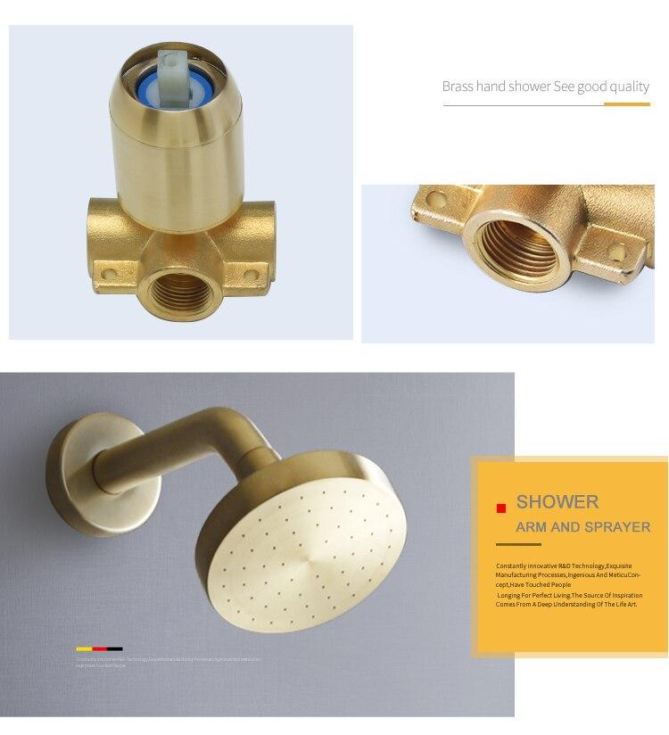H8478d073f5d840819ee07aae3fb23535N Brushed Gold Bathroom Fixture Waterfall Restroom Bath Shower Faucets Set Wall Mounted Brass Rain Shower Faucet Mixer Set