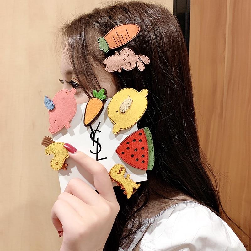 New Cute Fannel Cartoon Animals Plants Hairpins For Girls Headband Children Hair Clips Barrettes Kids Fashion Hair Accessories