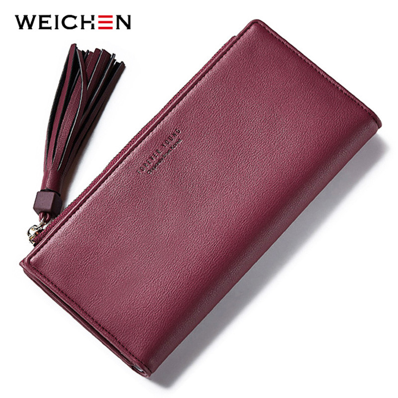 WEICHEN Tassel Women Wallet Many Departments Long Clutch Wallet Female Fashion Purses Zipper Pocket Card Holder Brand Designer
