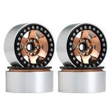 Injora 4 pçs metal 6 raios 1.9 beadlock roda hub rim para 1/10 rc rastreador axial scx10 90046 axi03007 traxxas trx4 redcat mst