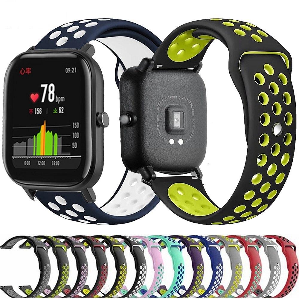 Дышащие силиконовые часы браслет ремешок для Xiaomi Huami Amazfit GTS/GTR 42 мм/Bip Lite Смарт часы Спорт Замена Браслет