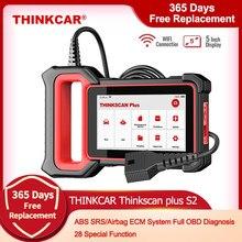Thinkcar ferramentas de diagnóstico do carro thinkscan mais s2 obd2 diagnóstico do carro ferramentas de automóvel abs srs ecm 28 função de restauração do carro scanner automático