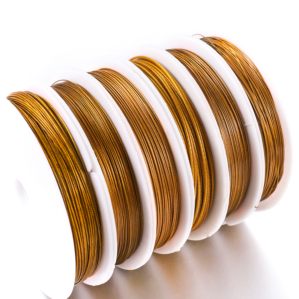 1Roll/lot 0.3/0.45/0.5/0.6mm Gold Resistant Strong Line Stainless Steel Wire Tiger Tail Beading Wire For Jewelry Making Supplies