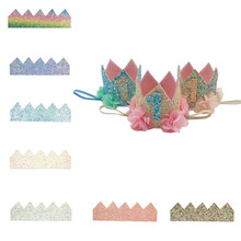 10Pcs/lot 22.5cm*7cm 11Colors Glitter Crown Material DIY Hand Craft Accessory For Baby`s Birthday Party Headwear Momlovediy