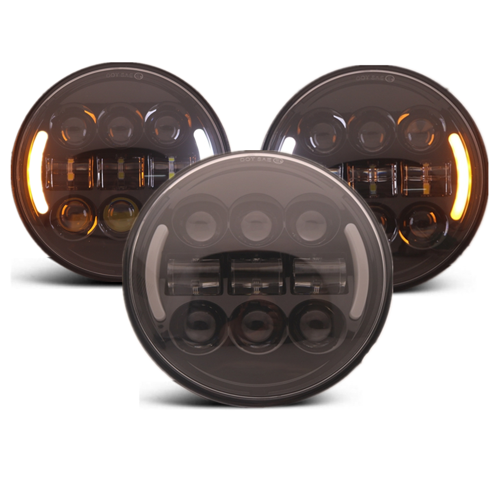 45W 5 3/4 5.75 Inch Headlight Motorcycle Led DRL Turn Signal Halo for Sportster Dyna Headlight Accessories