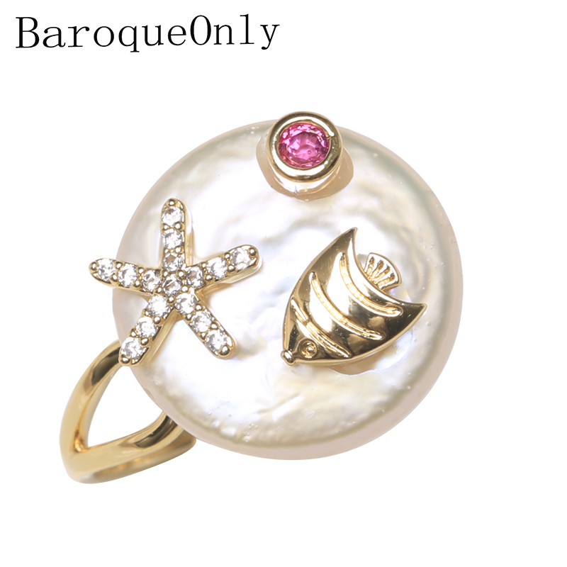 BaroqueOnly Fish Starfish Design 925 Sterling Silver Pearl Ring Natural White Pearl Jewelry Adjustable Rings Gifts 2019 Hot RBA
