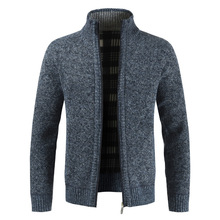Autumn and winter 2019 new foreign trade men's sweater Plush coat thickened sweater men's loose large sweater coat