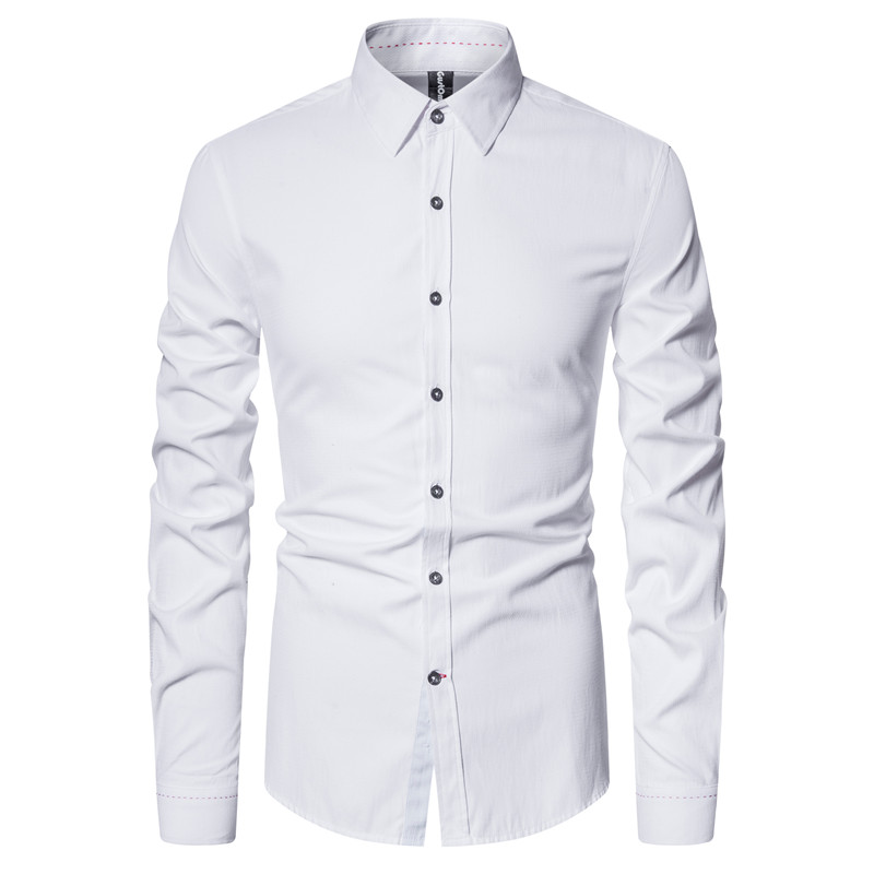 2021 New Spring Solid Color Mens Dress Shirts Slim Fit Cotton Social Business Shirts Casual Fashion Long Sleeve Men's Shirt