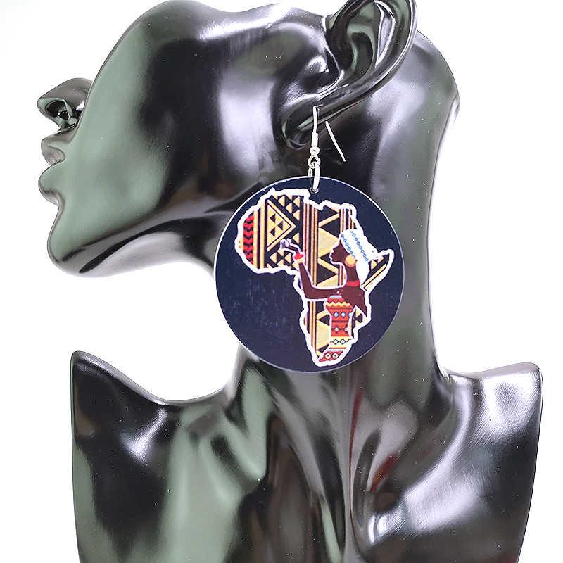 YD & YDBZ mapa afryki spadek kolczyki dla kobiet biżuteria Enthic 19 style Harajuku Bohemia drewniane kolczyki biżuteria drewniana hurtownia