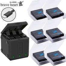 Высокое качество полностью декодированный аккумулятор hero 5+ 3 порта TYPE-C зарядное устройство для GoPro Go pro hero 5 6 7 8 hero 7 hero 8 black аксессуары для камеры