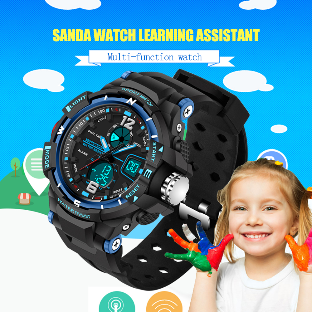 Fashion SANDA Merk Kinderen Sport Horloges LED Digitale Quartz Militaire Horloge Jongen Meisje Student Multifunctionele Horloges