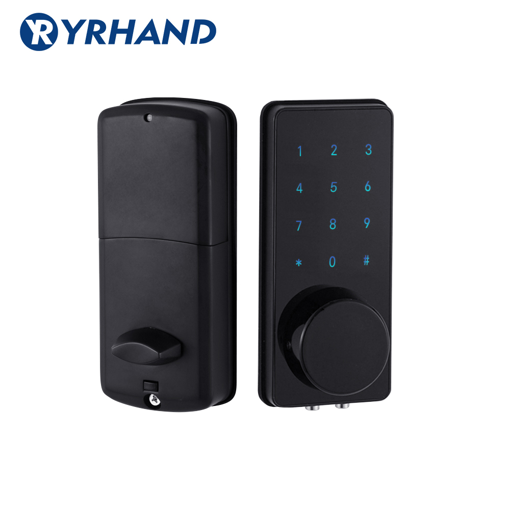 Black Digital Door Lock For Home  Electronic Touch Screen Code Password Deadbolt Battery Door Lock Unlock With App Code Key