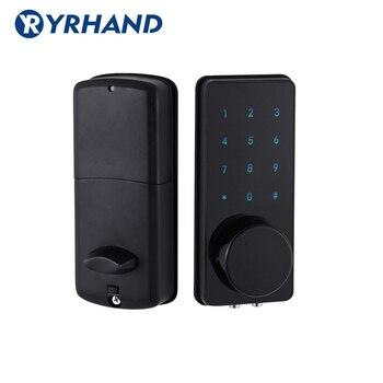 Cerradura de puerta Digital negra para el hogar, pantalla táctil electrónica, código, contraseña, cerradura de puerta de batería con bloqueo de bloqueo con código de aplicación