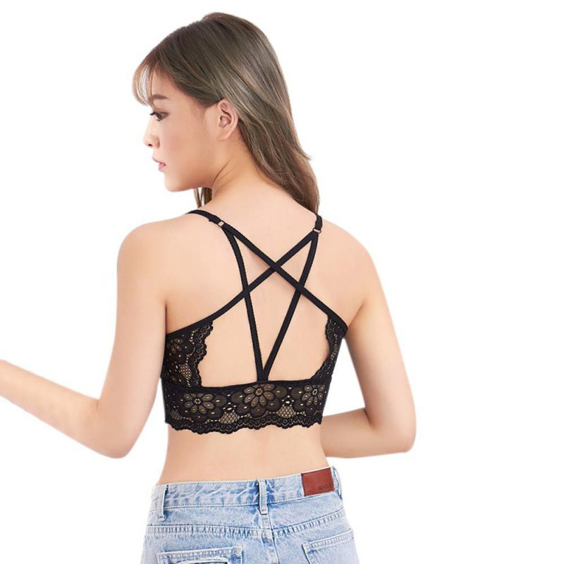 The New <font><b>Sexy</b></font> Women Hollow Back Shirt Tank Top Padded Bra Wrap Vest Chest Bra Cropped Tops Liva <font><b>girl</b></font> image