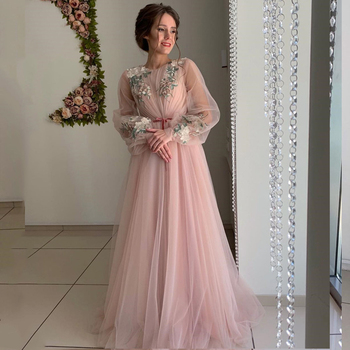 Eightale Arabic Dubai Evening Dresses Pink O-Neck Long Sleeves Prom Gowns Flowers Tulle A-Line Party Dress for Graduation - discount item  38% OFF Special Occasion Dresses