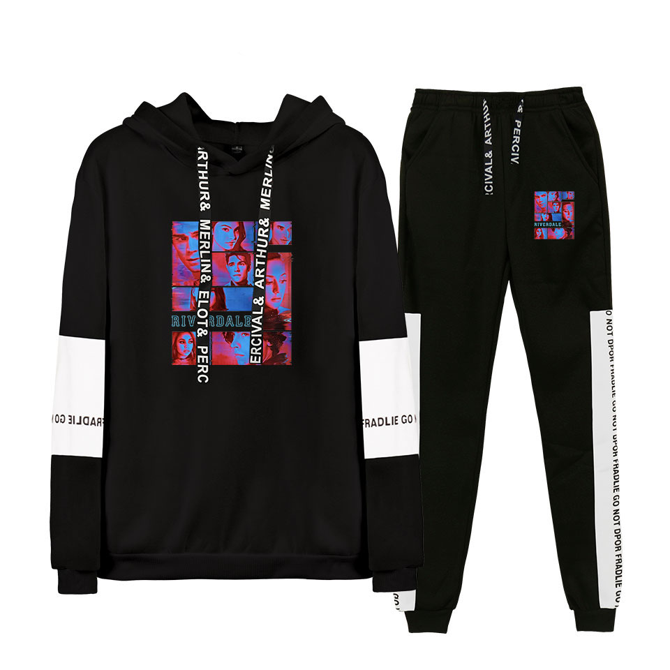 Newest Printed Riverdale Fourth Season South Side TV Drama Printed Two-piece Sweatshirt Sets Hoodie+Pant Raglan Sweatshirt Sets
