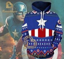 Womens and Mens Hoody Sweatshirt 3D Printed Hoodies Captain America Unisex Hip Hop Hoodie