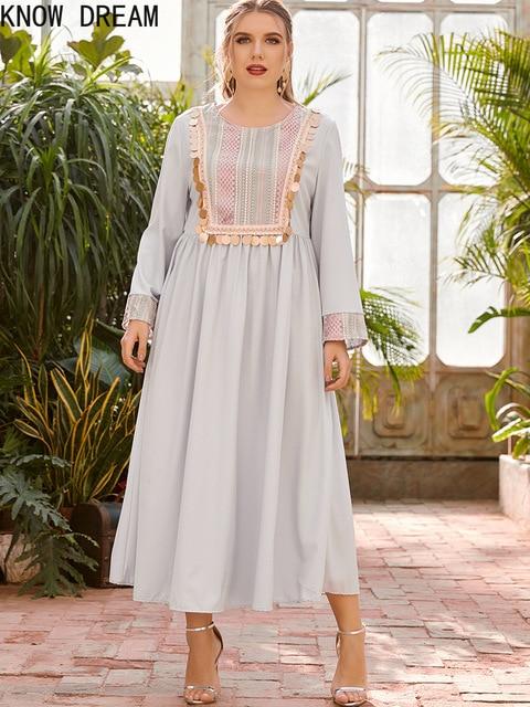 KNOW DREAM Dress Women Plus Size Women's Round Neck Long Sleeve Fashion Print Stitching Beads Waist Fashion Muslim Dress 2