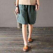 FairyNatural mujer verano 2020 Vintage pantalones de lino suave Delgado transpirable cómodo sólido suelto gris negro oscuro Pantalones rectos