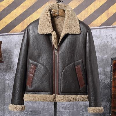 Shearling Coat Mens Black B3 Bomber Jacket Short Leather Jacket 2019 New Mens Winter Coats Fur Jacket