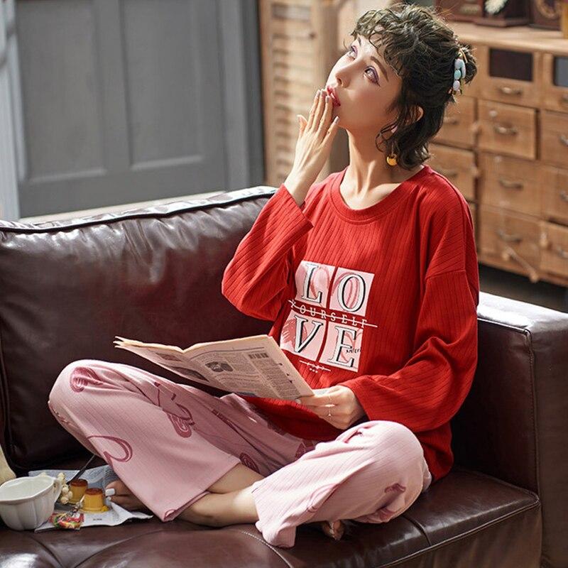 Pajamas Women Cartoon Loose Sleepwear Homewear Female Cute Home Suit Girl Pyjamas Set Night Suit Pajamas Suit