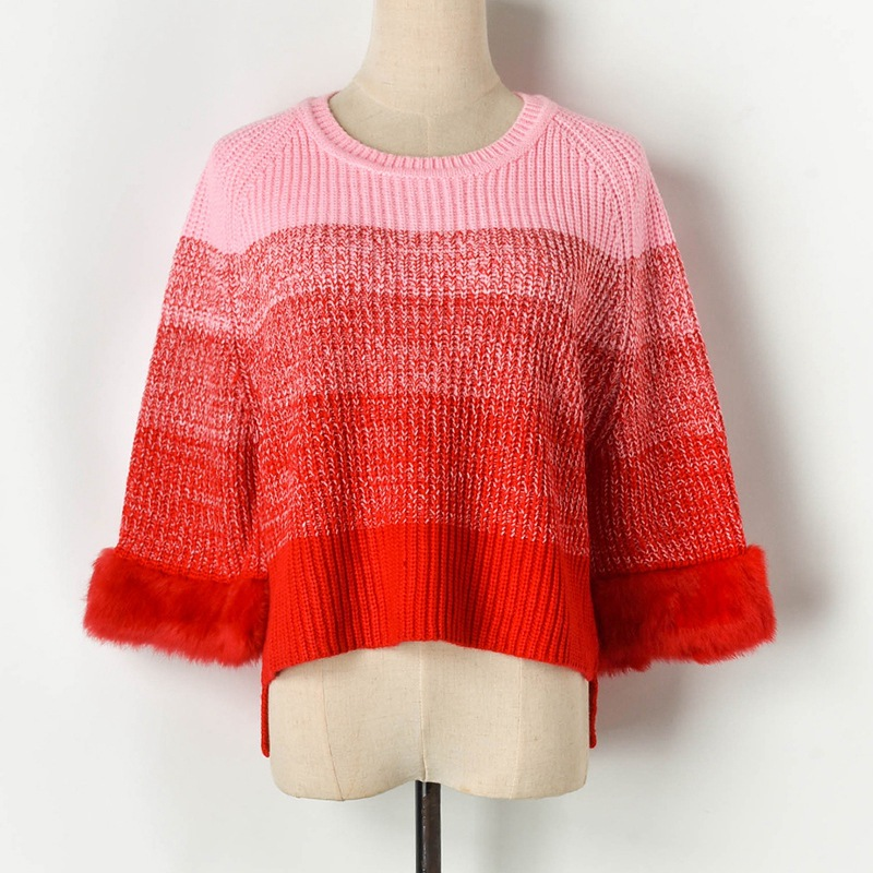 Gradient Striped <font><b>3/4</b></font> <font><b>Sleeve</b></font> Crop <font><b>Sweater</b></font> 2019 Autumn Faux Fur Patchwork Wool Blend <font><b>Sweater</b></font> Knitted Pullover Loose Jumper P-113 image
