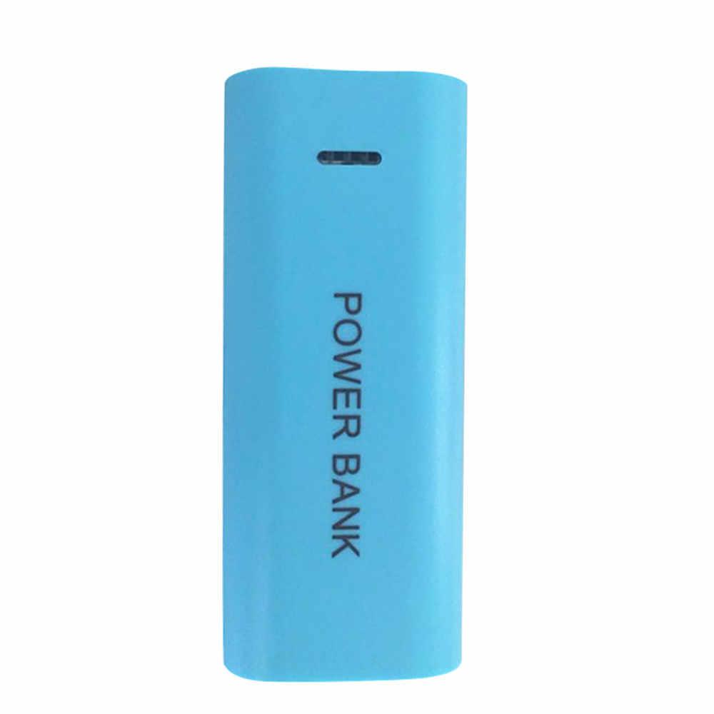 Şeker renk moda 5600mAh 2X18650 USB güç pil şarj aleti kılıfı DIY kutusu iPhone şarj için 18650 piller için