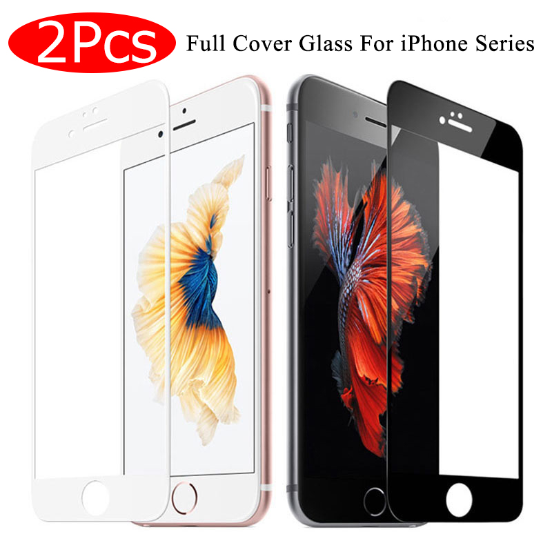 2Pcs Full Cover Tempered Glass on For iPhone 7 8 6 6s Plus Screen Protector Protective Film For iPhone X XS Max XR Curved Edge 1