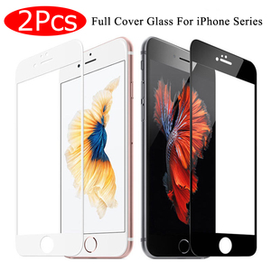 2Pcs Full Cover Tempered Glass on For iPhone 7 8 6 6s Plus Screen Protector Protective Film For iPhone X XS Max XR Curved Edge(China)
