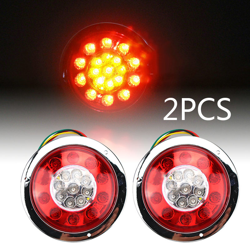2pcs 4 Round Red/Yellow 19-LED Truck Trailer Brake Stop Turn Signal Tail Lights