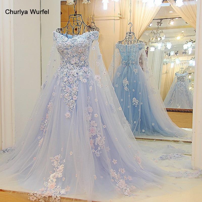 LS64420 Blue dress long partylong cape sweetheart floor length evening party dresses 2016 long with flowers 100% real photo2016 long dress2016 evening dresslong evening dresses 2016 -