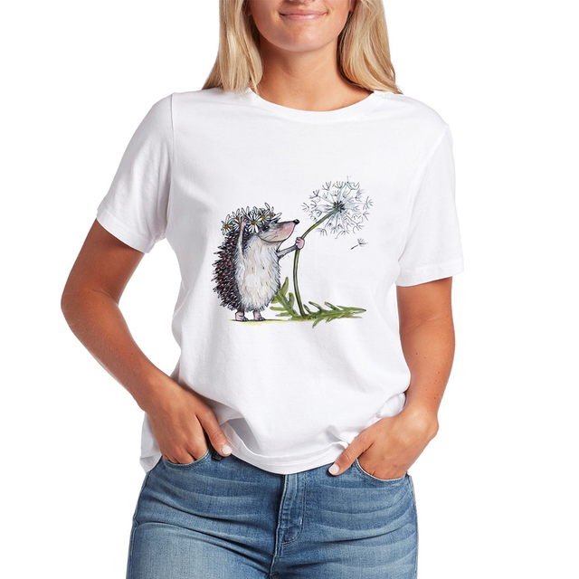 Kawaii T Shirts Women Hedgehog 2020 New Tops Female T-shirt Loose Tshirt Summer Tee White T-shirts Round Neck Oversized T Shirt 2