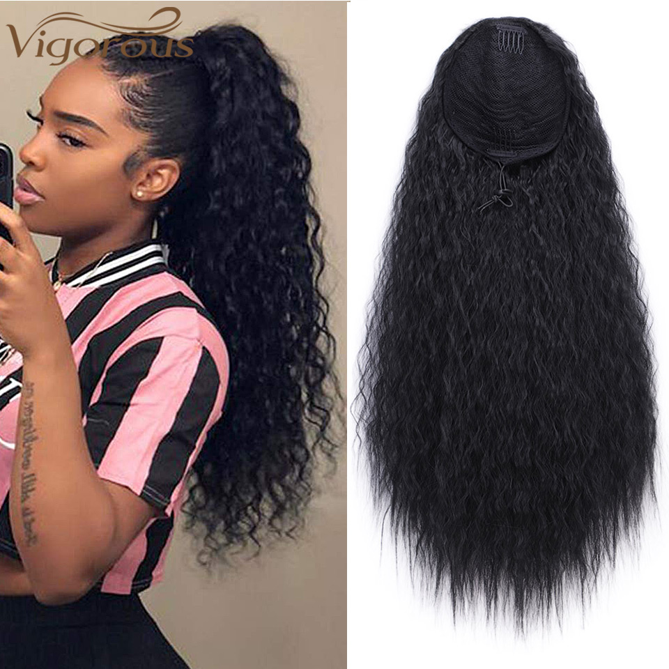 Vigorous Ponytail-Hair Brown Kinky Curly Drawstring Clip-In Long-Afro Black Synthetic