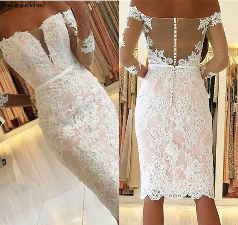 Chic Elegant Off Shoulders Sheath Cocktail Dress Cheap Long Sleeves Holiday Club Wear Homecoming Party Dress Plus Size