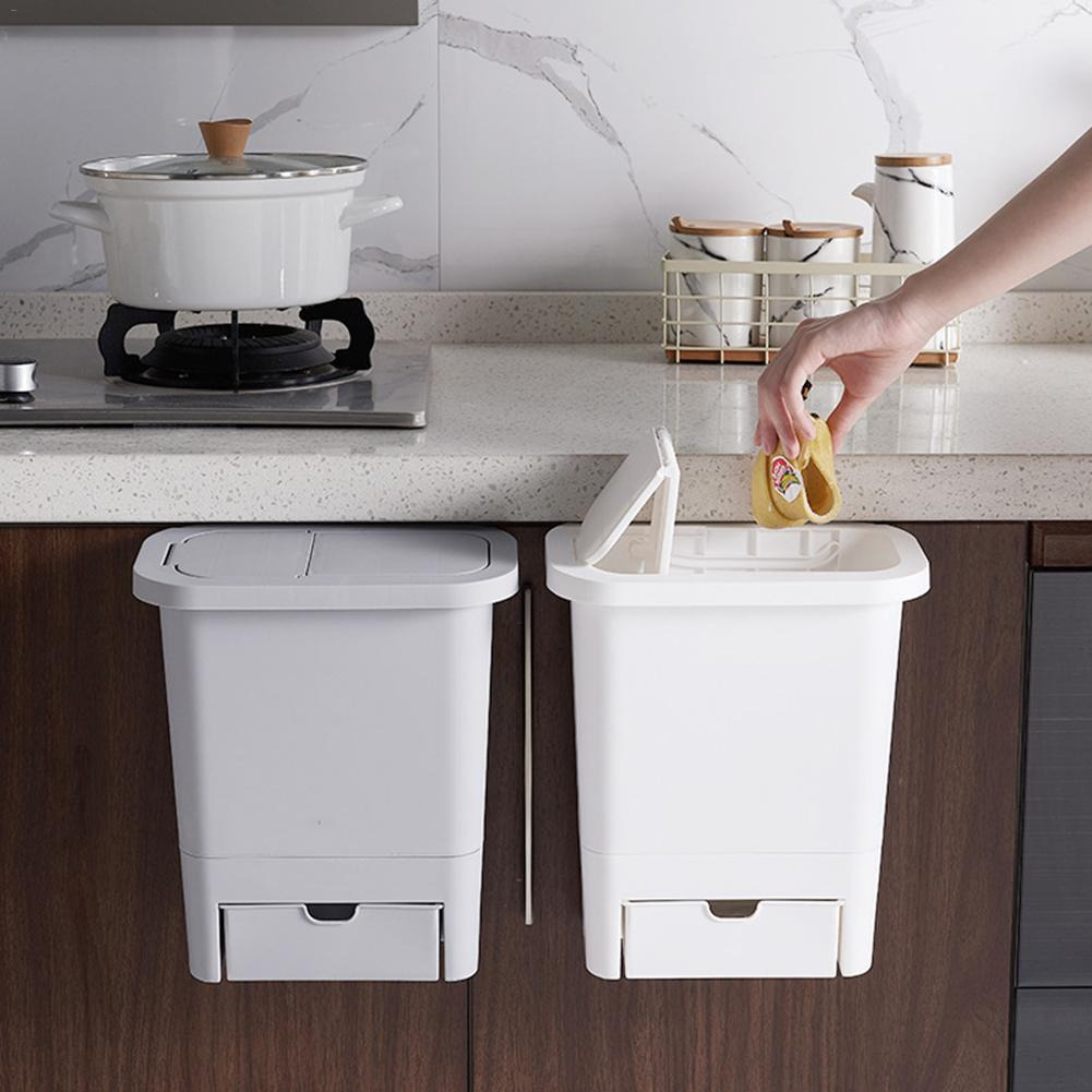 Hanging Trash Can Small Kitchen Garbage Can Waste Bin Sorting Trash Bin With Lid For Kitchen Cabinet Door For Bathroom Toilet Waste Bins Aliexpress