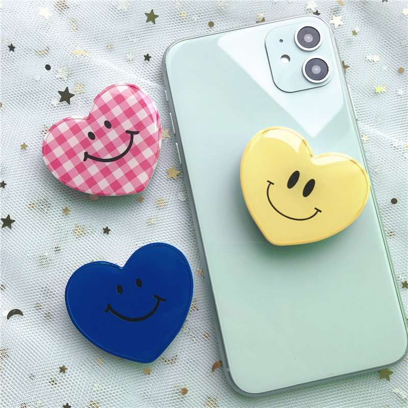 Lovely Heart Shape Smile Expanding Stand And Grip Phone Holder Phone Grip  Love Pattern Phone Stand  Socket For Smartphone