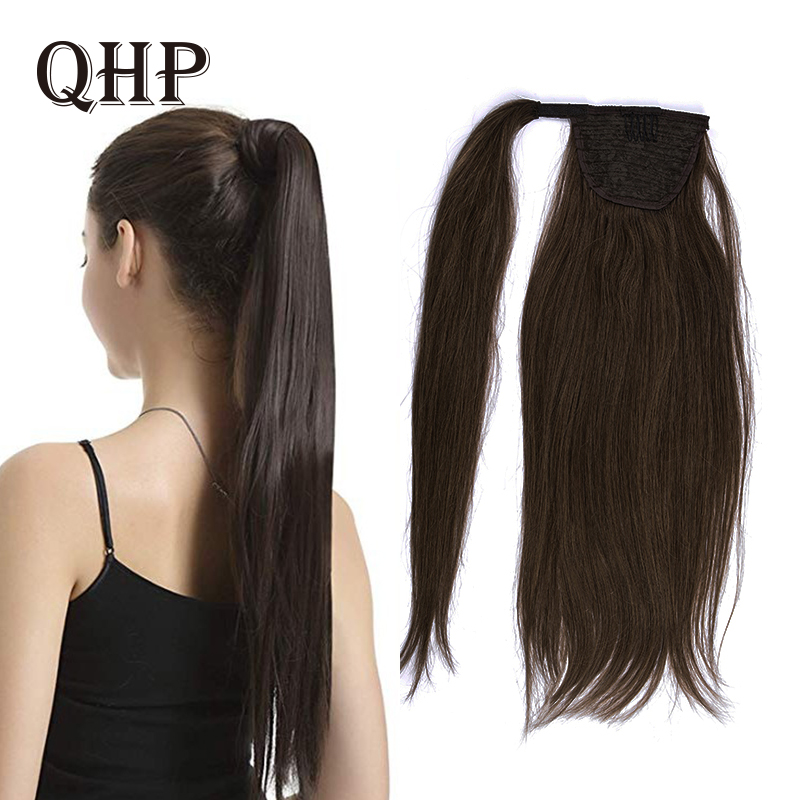 100% Human Hair Ponytail Brazilian Machine Remy Ponytail Wrap Around Horsetail Wig 60g 80g Hairpieces Natural Straight Tails
