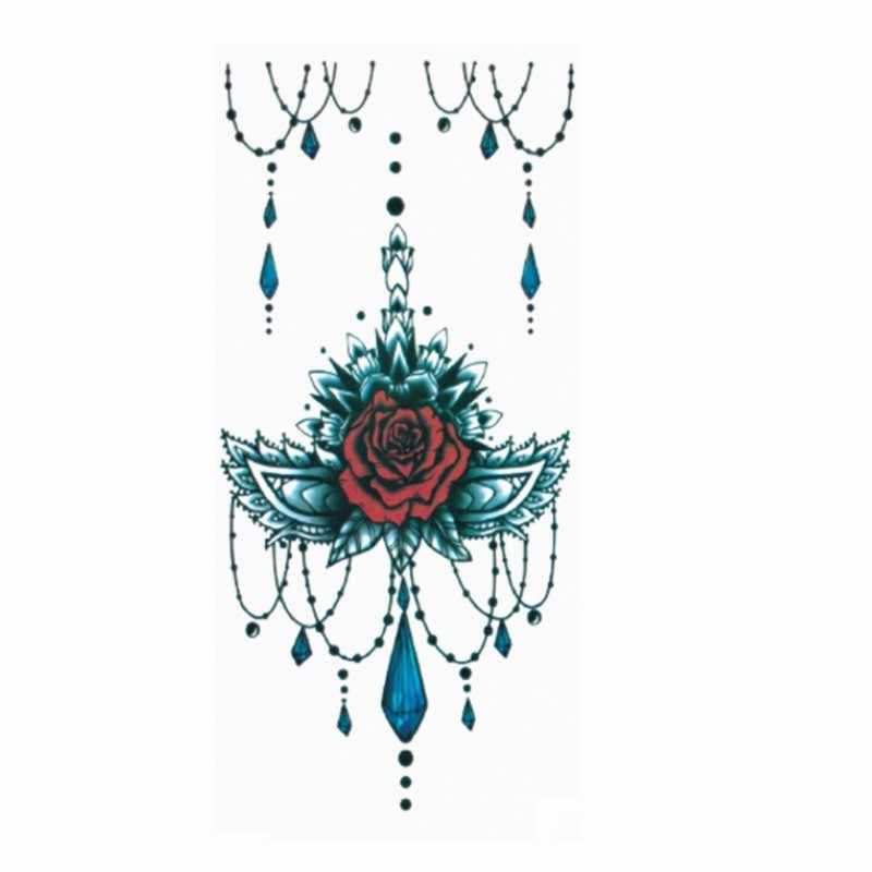 Tatuaje de mano para adultos y niños, tatuaje negro temporal a prueba de agua, pegatina para el cuerpo del brazo 90*190mm, 1 unidad, tatuaje de moda Arte de flores