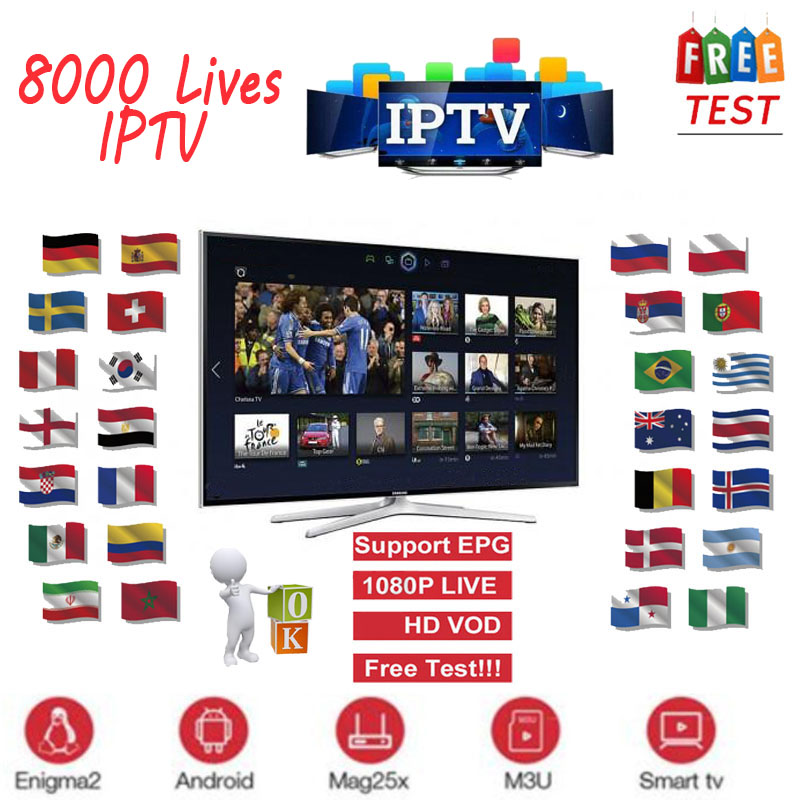Full HD World IPTV Adult 4K 8000 Live 6300+VOD Europe Dutch French Spain Germany Itlay Arabic USA IPTV Subscription Smart TV M3U