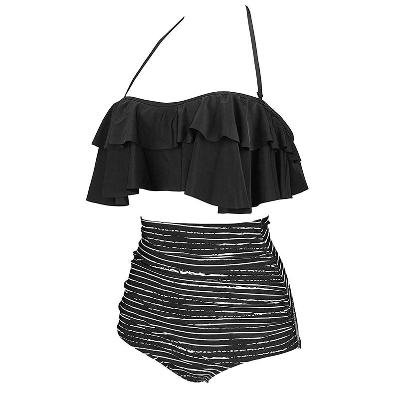 H847b9581217a423d905ffc3dff82c042t 2019 New Bikinis Women Swimsuit High Waist Bathing Suit Plus Size Swimwear Push Up Bikini Set Vintage Beach Wear Biquini